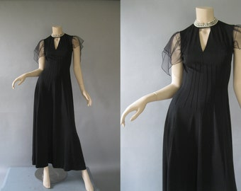 70s Black Dress -  Bodycon Bodice Flutter Sleeves -  Ayers Vintage Maxi -  Boho Prom