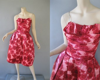 50s Party Dress - Rhinestone Straps - Bubble Skirt - 1950s Formal Dress - Rose Print Taffeta -  Attached Crinoline -  Prom Dress XS
