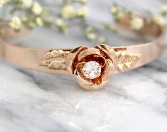 Bridal Bracelet, Bohemian Crystal Bracelet,Swarovski Bracelet, Bridal Rose Gold Bracelet Rose Gold Cuff Bracelet, Bridal Crystal Bracelet