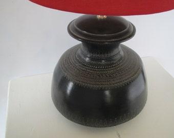 Vintage black pottery table lamp/ round table lamp black
