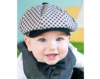 Checkered Pattern Light Tan and Black Newboys Cap by Pink2Blue. Infant Sizes, Handnmade by pink2blue