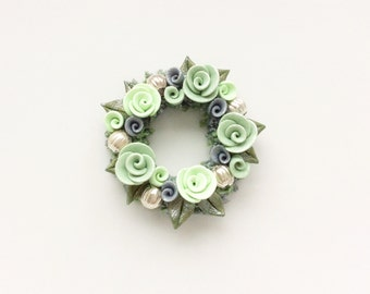 Miniature dollhouse Christmas wreath with pale green roses handmade from polymer clay