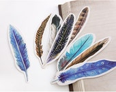 30 Pcs Colorful Feathers Bookmark - Die Cut Cardstock Scrapbook Embellishment Bookmark