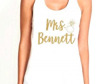 Mrs. personalized gold glitter white racerback women's tank