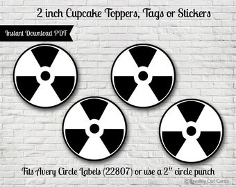 "Black and White Radioactive Symbol 2"" Printable Treat Toppers or Labels"