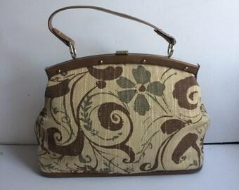 Linen Handbag Satchel Top Handle Bag, Floral Linen Print