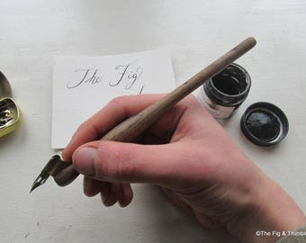 Oblique Dip Pen with Nib -  Calligraphy Pen Holder - Hand Turned from Reclaimed Walnut Wood