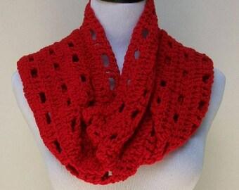 Crochet Scarf, Red Scarf, Handmade Scarf, Open Pattern, Crochet Neck Warmer, Handmade Neck Dress, Fringed Scarf, Crochet Neck Cover ..