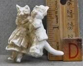 Vintage German  Excavated 1870s Animal Figure  Miniature Cats  Dressed Like People Dancing Cats Oscarcrow