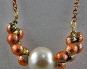 Handmade 20mmGlass Pearl Necklace Harvest Orange Gold Czech Glass Bead Necklace  Oscarcrow