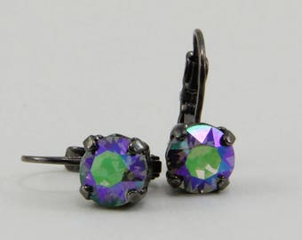 Handmade Earrings 8.5mm Green Purple  Rhinestone on Gunmetal Lever Backs OOAK
