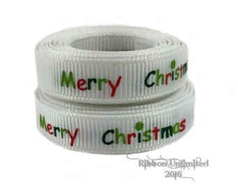 10 Yds. WHOLESALE Merry Christmas grosgrain ribbon LOW SHIPPING Cost