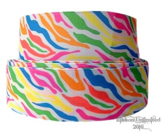 5 yds  1.5 Inch NEON Zebra Print grosgrain ribbon LOW Shipping Cost