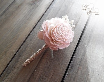 Blush Pink Boutonniere with jute wrapped stem.