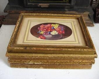 Vintage Antiqued Gold Wooden Chocolate, Glove, Letter Keepsake, Jewelry Box with Mirror lid Primrose Flower Motif