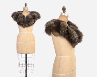 Vintage 40s FOX Fur Collar / 1940s Fluffy Genuine Silver Fox Stole
