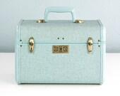 Vintage Samsonite Train Case, Streamlite, Blue Tweed Cosmetic Case