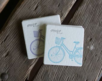 CRUISER BIKE Coasters, (Letterpress printed, 3.5 inches) set of 8, perfect gift