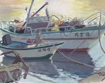 Japanese Fishing Boats- mini painting