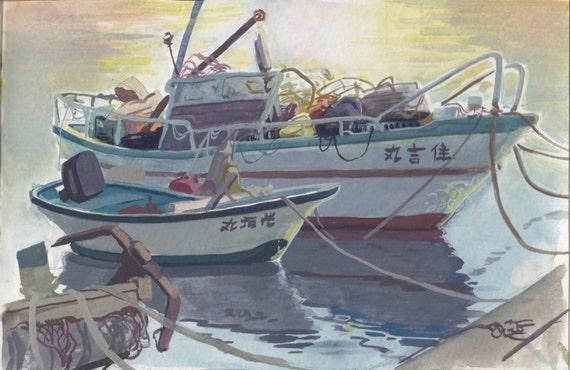 Items similar to japanese fishing boats mini painting on etsy for Japanese fishing boat