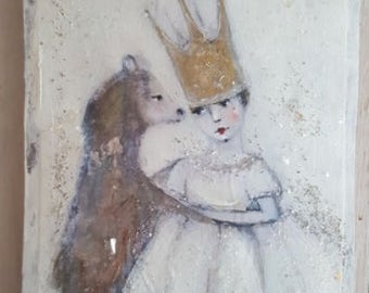 mixed media metal from my original art a girl and her bear