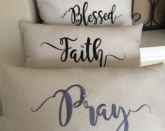 Pray Pillow- accent pillow with pray word- embroidery embellished with crystals- home decor accent pillow-religious daying pillow- gift