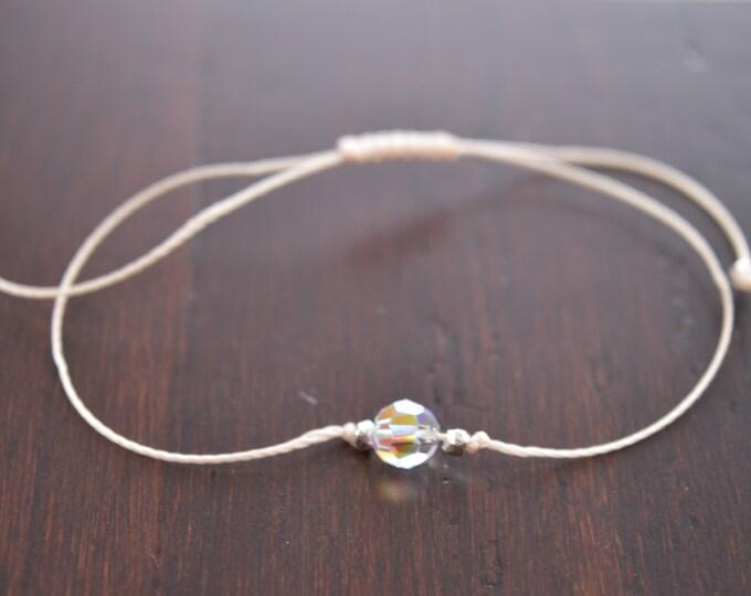 Crystal Bracelet, Swarovski AB, Tiny CZ Bracelet, Solitaire Bracelet, Minimal Bracelet, Dainty Bracelet, Simple Delicate Bracelet
