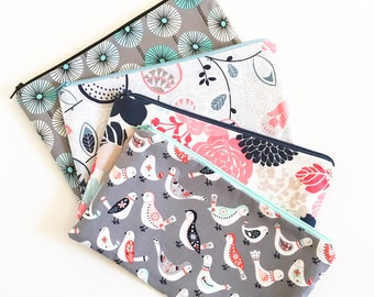 Zipper Pouch, Pencil Pouch, Back to School Supplies, Pencil Case, Grey and Aqua, Floral and Birds, College, Kids, Teens, Women Organizer Bag