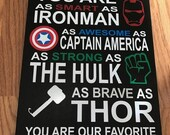 ON SALE 8x12 wooden sign with multicolored personalized DAD vinyl lettering quote Avengers superhero you are smart as ironman as awesom as .
