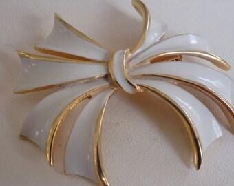 "Vintage brooch, signed ""Torino"" white enamel bow brooch, retro brooch ,designer signed jewelry"