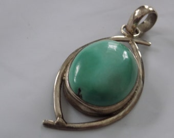 Large vintage sterling silver and turquoise  modernist pendant,statement jewelry