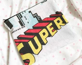 Superman cityscape gotham vinatge dc comics super hero make up or pencil bag zipper closure by Felices Happy Designs