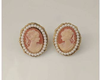 Vintage oversized cameo stud earrings