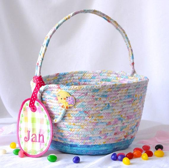 """Girl Easter Basket, Handmade Flower Girl Basket, 6""""H Cute Easter Decoration, Easter Egg Hunt Bag, Pink and Blue Quilted Easter Bucket"""