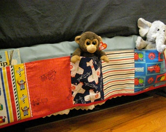 Child's Bed Caddy, Book Toy Organizer, Bedside Caddy 5 pocket Trains Airplanes