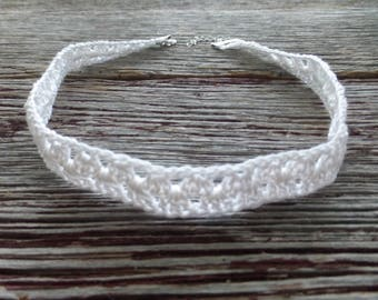 White Crocheted Choker Necklace, Crocheted Choker, Crocheted Necklace