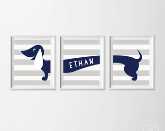 Personalized Nursery Art Dog Doxie , Nursery Navy Grey , Wall Name Dog Puppy Dachshund , Weiner Dog Artwork Wall , Dachshund Wall Art
