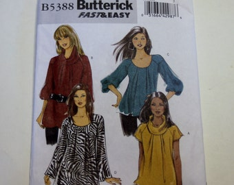 Butterick B5388: Fast and Easy Misses' Top Sizes 16,18,20,22 UNCUT