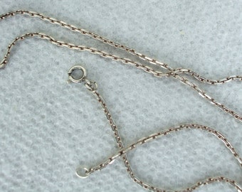 Vintage Necklace Sterling Silver Link Chain 18 Inches For Pendant Or Alone