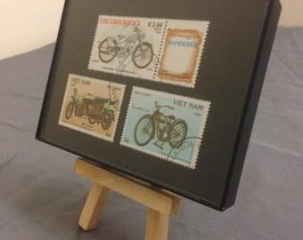 """Motorcycle - Recycled Postage Stamp Framed Art 3.5""""x5"""", Bike, Harley, Simpson, motorbike, simplex"""