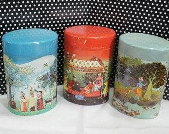 West German Tins Set of 3, tea tins, instant collection