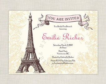 Afternoon in Paris Bridal Shower Invitation - Shower, birthday or tea party , You-Print Digital Invitation