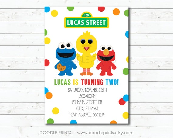 Sesame Street Invitation Elmo Big Bird Cookie Monster Birthday