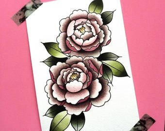 Original Watercolor Peony Tattoo Flash Painting by Michelle Kent