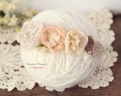 Newborn Tieback - Floral Crown, Vintage Inspired Tieback, Off White Cream Blush Beige Tieback, Photo Prop, Spring Tieback, Baby Headband