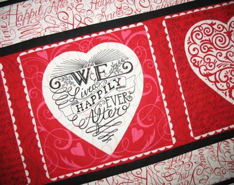 Valentine Table Runner, Hearts, Love, Romance,Swirls in red. quilted, fabric from Moda