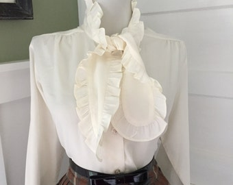 Vintage Sexy 1950s 1960s Off White Cream Long Sleeve Blouse w Ruffle Pussy Bow Tie Neck