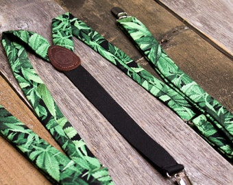 "Marijuana Leaf Adult Suspenders // 1"" Skinny Suspenders // Pot Suspenders // Stoner Gifts // Cannabis // Fancy Pot Head"