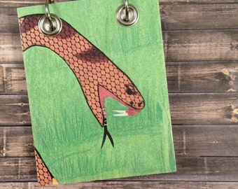 Recycled Notebook - Small Refillable Notepad - Upcycled Children's Book - Snake - Animal Note Book