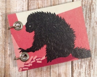 Recycled Notebook - Small Refillable Notepad - Upcycled Children's Book - Porcupine - Animal Note Book